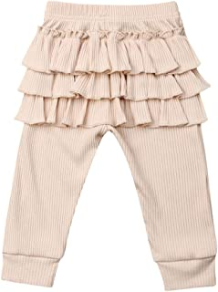Greetuny Cotton Leggings for Baby Girls 0-3 Years Ruffle Long Pants Comfortable Knitting Trousers Elasticity Bottoms Casua...