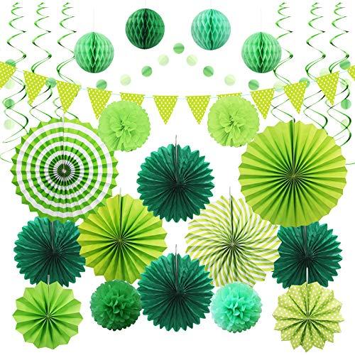 Decoración de Abanico de Papel Verde JOOPOM Pompones de Papel Guirnaldas de Papel Verde Ventiladores de Papel Colgando Bolas de Panal para Decorar Fiesta de la selva Cumpleaño Día del árbol(26 piezas)