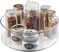 mDesign Plastic Round Lazy Susan Rotating Turntable Food Storage Container for Cabinet, Pantry, Refrigerator, Countertop, Spinning Organizer for Spices, Condiments, Baking Supplies - Clear