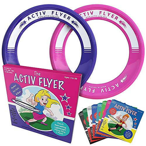 Activ Life Kids Flying Rings [Pink/Purple] Christmas Fun Gifts & Birthday Presents - Cool Toys for Girls & Women to Play Outdoor in Pool or Backyard - Grand Daughter Niece Granddaughter Mom Ideas
