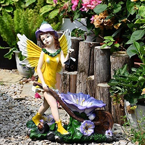 Adornos de jardín estilo europeo decoración de jardín linda flor hada ornamento resina chica ángel figura escultura con linterna carro decoración estatua (color: amarillo, tamaño: 37 x 20 x 45 cm)
