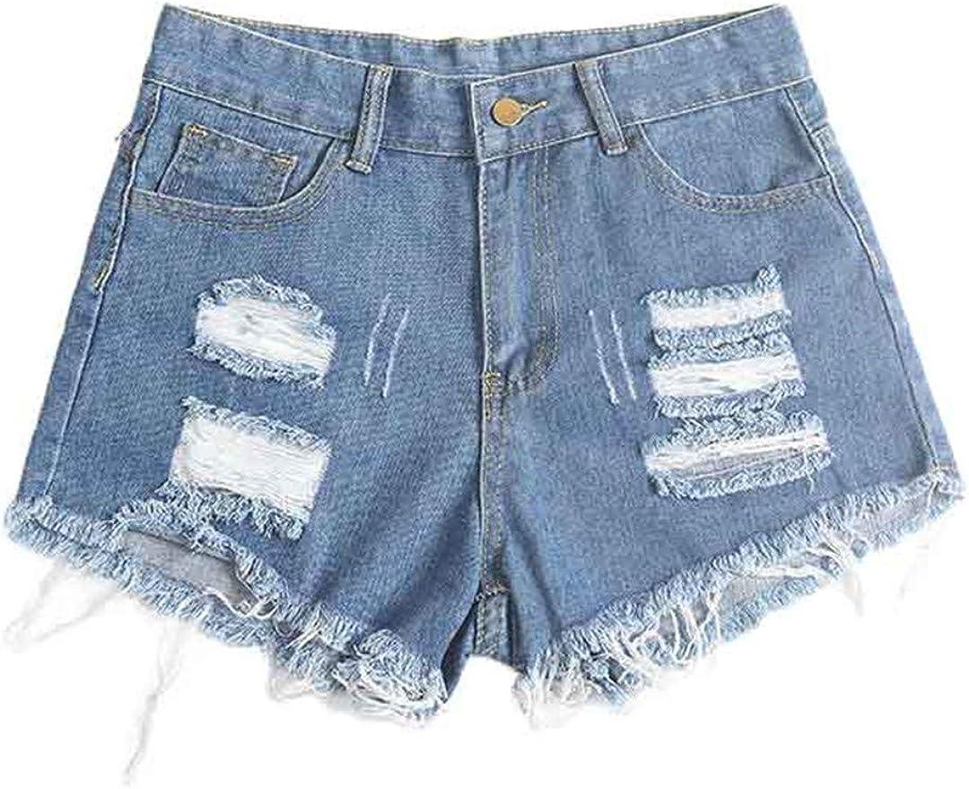 YHK Women's Summer Ripped Denim Shorts Skinny Jeans Shorts Women's Shorts