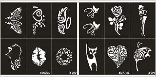 Minkissy 2 Sheets Tattoo Stencils Assorted Pattern Painting Moulds Tatoo Cards DIY Tattoo Supplies Tatoo Templates