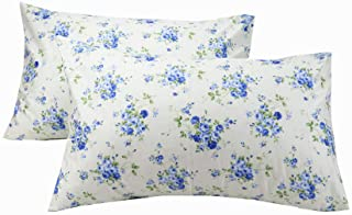 YIH Blue Floral Pillowcase for Hair, 100% Cotton Standard Pillow Shams, Set of 2, 20x30 inches