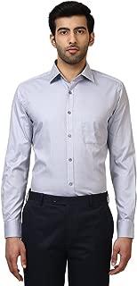 Raymond Solid Cotton Grey Regular Fit Cutaway Collar Full Sleeve Shirts