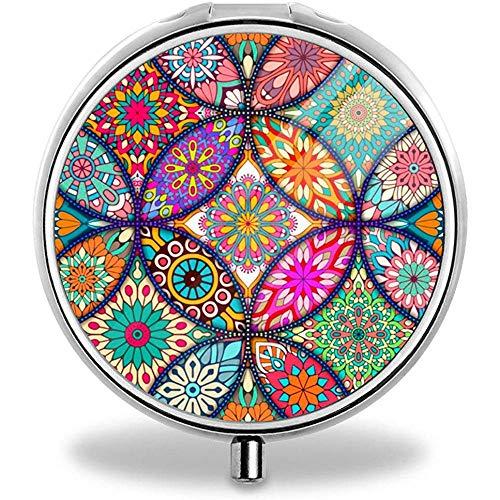 Dekorative Boxen Pillendose Silber Tasche Geldbörse Reise Pillenetui Medizin Tablet Halter WalletColorful Mandala Art