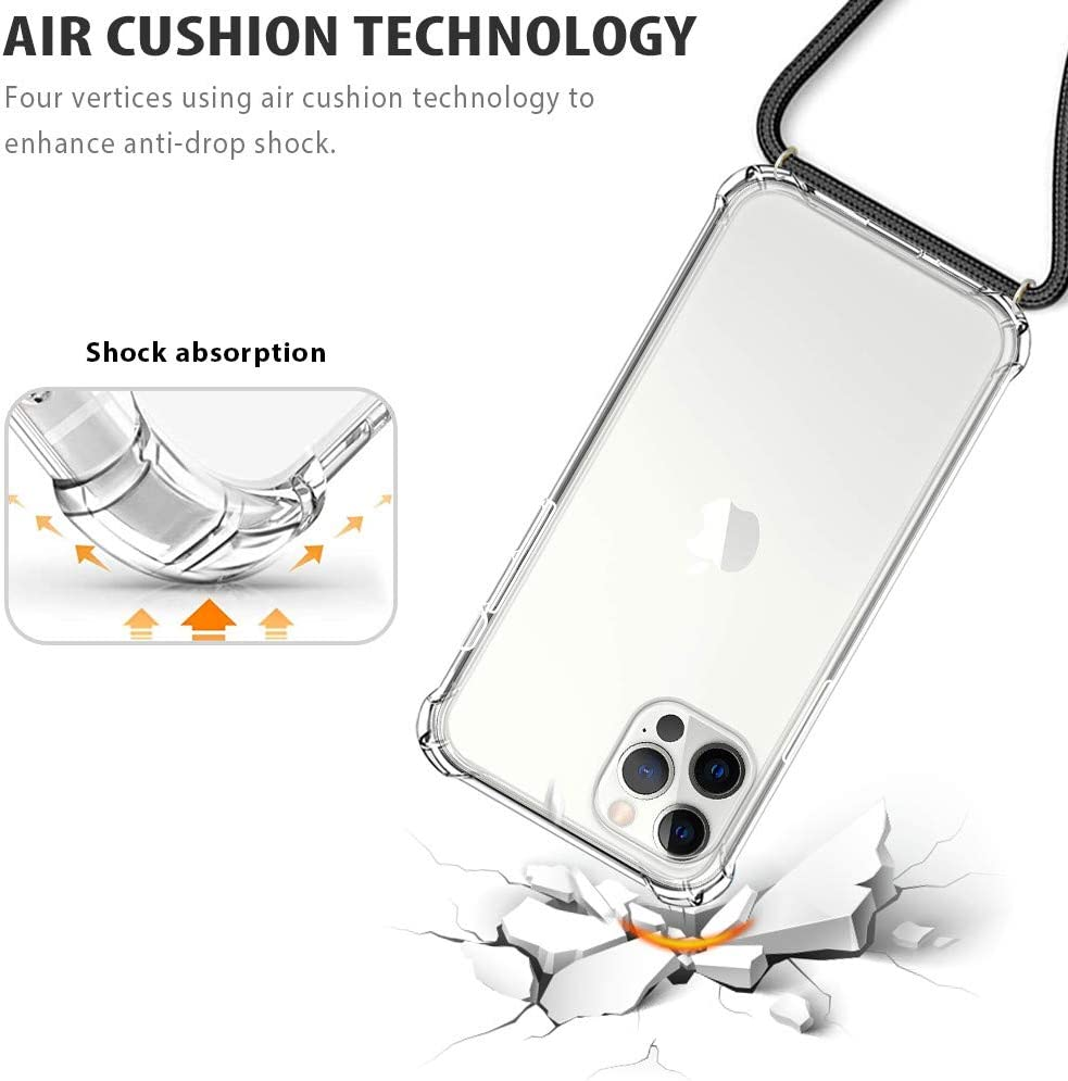 CAROKI Crossbody Case for iPhone SE 2020//7//8,Necklace Mobile Phone Cover with Cord Strap for iPhone SE2,Clear Transparent TPU Soft iPhone7//8 Cover Holder with Neck Cord Lanyard Strap-Clear