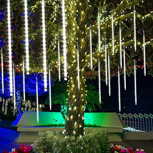 Meteoros Lluvia Luces LED,Petrichor Luz de meteorito 50cm 10 Tubos 480 LEDs Luces de caída de carámbano de Navidad Luces de nieve para Árbol Exterior Jardín Decoració (frío)