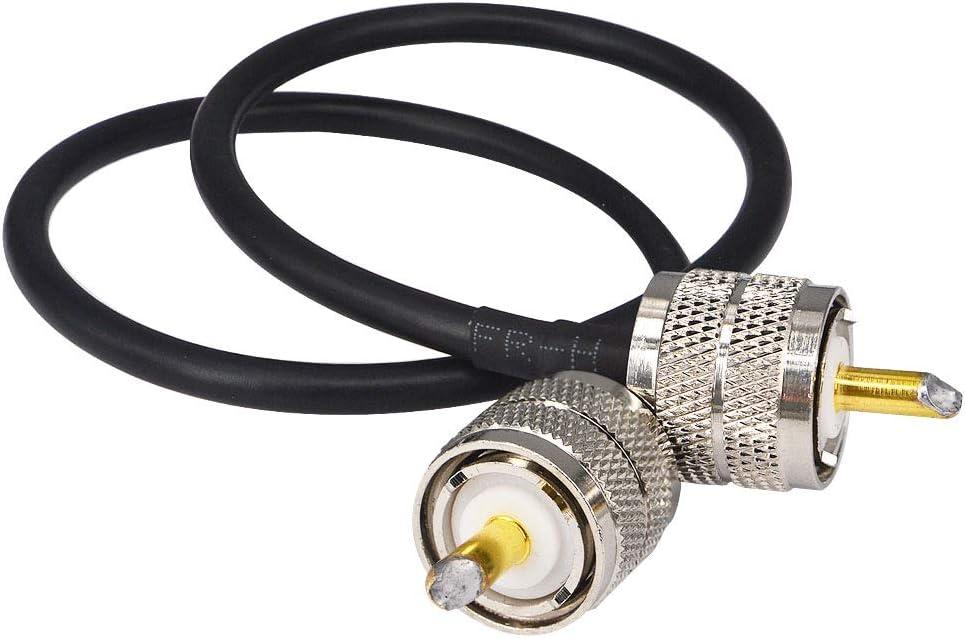 YILIANDUO Walkie Talkie Portátil Radio Adaptador UHF PL259 Macho a UHF PL259 Macho Baja Pérdida RG58 50 cm Coaxial Extensión Cable para Radio HAM y ...