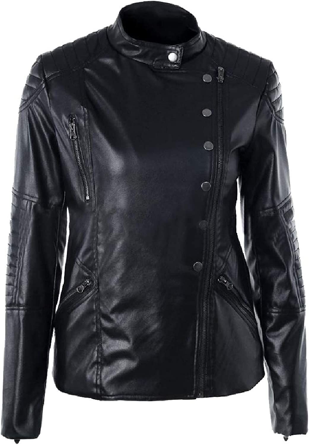 TaoNice Women's Thermal Windproof Ruched Sleeve Pu Leather Jacket