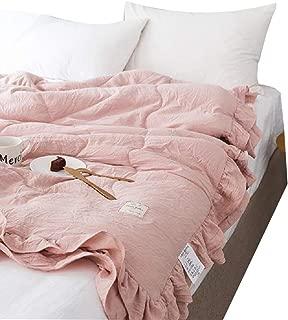 WINLIFE Ultra Soft Seersucker Ruffle Bedspread Summer Coverlets Set Full/Queen