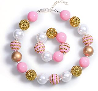Chunky Bubblegum Necklace Pink Gold Fashion Beads Baby Jewelry Children Necklace Bracelet Set Birthday Outfit with Gift Box and Greeting Card