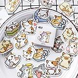45 Unids/Set Kawaii Buleet Jouranl Pegatinas Cute Cartoon Cat Stickers Scrapbooking Diary Papel Decorativo Papelería Pegatinas