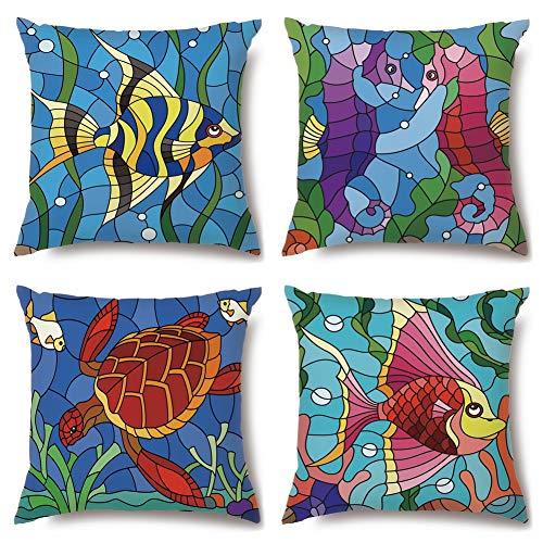 Artscope Funda de Cojín Microfibra Poliéster Cuadrado,Funda de Almohada para Cojín Decorativo para Hogar Sofá Cama,Juego de 4 (Peces de Colores)