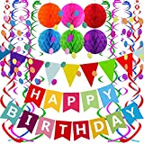 Material:Eco-Friendly paper banner;Paper Pom poms honeycomb ball ,confetti garland; Plastic Swirl Streamers. Color:Happy birthday banner is colorful;Honeycomb ball is orange green pink blue red purple;circle confetti garland is colorful;Streamer is c...