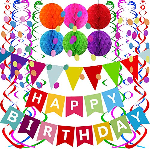 Fecedy Happy Birthday Banner with Colorful Paper Flag Bunting Paper Circle Confetti Garland Swirl Streamers Honeycomb Ball for Birthday Party