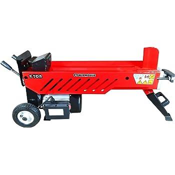 Powerhouse Log Splitters XM-580 9 Ton Electric Hydraulic Horizontal Log Splitter, Red/Black/Silver