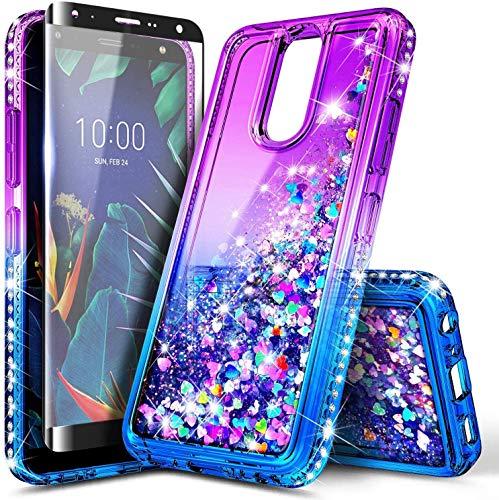 E-Began Case for LG Journey LTE, Aristo 4+ Plus/Neon Plus/Escape Plus/Arena 2/Tribute Royal with Tempered Glass Screen Protector, Glitter Liquid Floating Quicksand Girls Cute Case -Purple/Blue