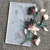 FineInno Moldes de Resina Epoxi de Pendientes Rama de flor de Magnolia Molde Silicona Joyeria para Hacer Artesanías de Joyería DIY (Molde de la flor)