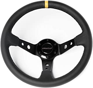 Circuit Performance CP330 Steering Wheel Black Center Black Leather and Yellow Stripe 350mm Deep Dish