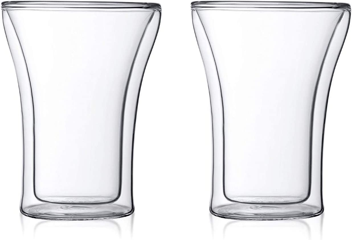 Baskety Glass Coffee Mugs - 250ml 今ダケ送料無料 Double Walled P Mug 着後レビューで 送料無料 Insulated