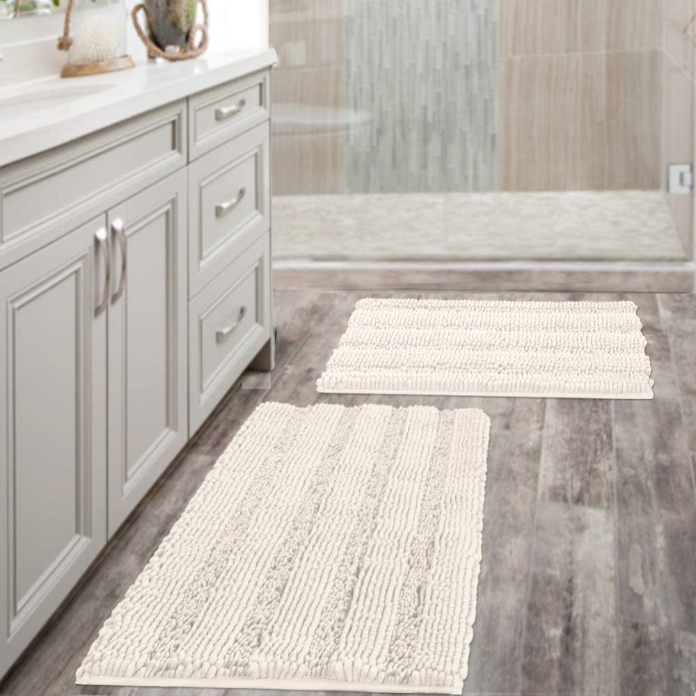 Extra Thick Striped Bath Beauty products Rugs for Bathroom Outlet SALE 2 of Anti-Sli - Set