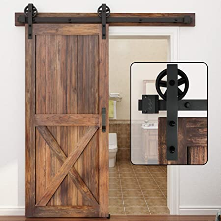 WINSOON 5-16FT Single Wood Sliding Barn Door Hardware Basic Black Big Spoke Wheel Roller Kit Garage Closet Carbon Steel Flat Track System (6FT)