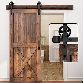 WINSOON 5-16FT Single Wood Sliding Barn Door Hardware Basic Black Big Spoke Wheel Roller..