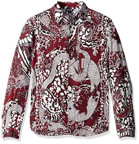 Just Cavalli Herren Printed Shirt Button Down Hemd, Port, 54