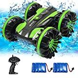 VOLANTEXRC Amphibious RC Car for Kids 2.4 GHz Remote Control Boat Waterproof Toys for 5-12 Year Old Boys 4WD Stunt Vehicle All Terrain RC Monster Truck for Teens Adults Gifts for Pool (Green)