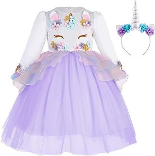 FYMNSI Baby Girls Long Sleeve Princess Unicorn Tulle Dress Wedding Birthday Halloween Carnival Costume + Headband