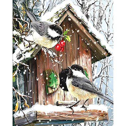 LPHMMD Schilderij Door Getallen DIY vogeltje Nest sneeuw Dier DIY Digitale Schilderij Door Getallen Moderne Muur Kunst Olie Schilderen Home Decor 40 * 60CM