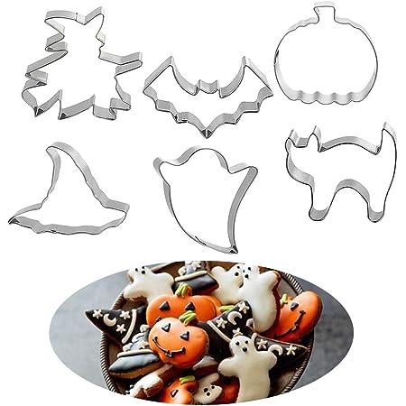 Juego de 6 cortadores de galletas de acero inoxidable formas para hornear Halloween bruja gato calabaza fantasma b/úho esp/íritu monstruo moldes forma sellos de Royal Houseware