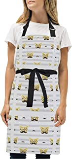 BBQ Apron Cat Wearing Glasses Durable Kitchen Apron, Professional Chef Bib Apron for Women and Men Cooking Aprons Adjustable Size with 2 Pockets