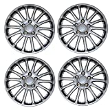 Tuningpros WC3-15-1007-S - Pack of 4 Hubcaps - 15-Inches Style Snap-On (Pop-On) Type Metallic Silver Wheel Covers Hub-caps