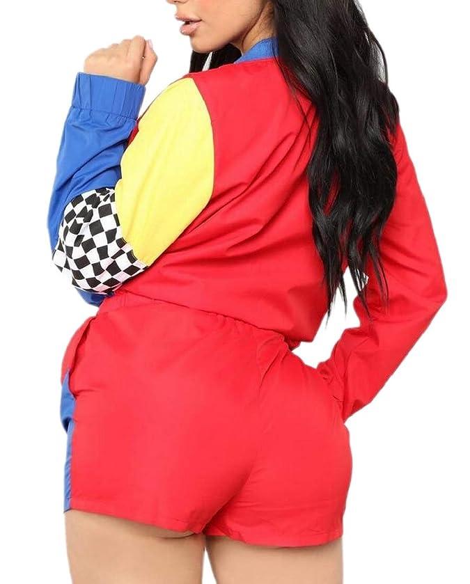 メロドラマティックリットルチラチラするレディースカラーブロック2ピースロングスリーブジッパー巾着ジャケットとショーツセット