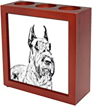 Schnauzer Cropped, Wooden Stand for Candles/pens with The Image of a Dog