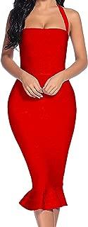 Women's Bandage Dress Sexy Halter Fishtail Bodycon Party Club Dress