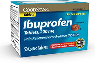 Good Sense Ibuprofen Tablets, 200 mg, Pain Reliever and Fever Reducer, 50 Count, Temporarily Relieves Minor Aches and Pain...