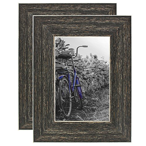 Americanflat 4x6 Rustic Picture Frame with Polished Glass - Horizontal and Vertical Formats for Wall and Tabletop - Pack of 2 (PS0406BR2PK)