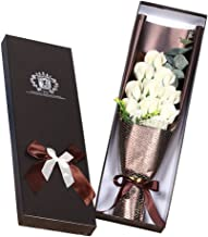 JGHSI Eternal flower, Artificial Soap Rose, Valentine's Day gift, Rose Soap Flower Gift Box, 11pcs (Red, Blue, Pink, Light blue,White, Purple, Rose red for Choice) (White)