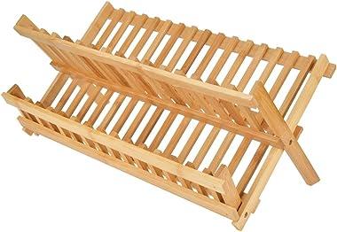 Étagère de Rangement Pliable en Bambou Double Couche Présentoir de Livre Étagère Organisateur de Meubles pour Bureau à Domici