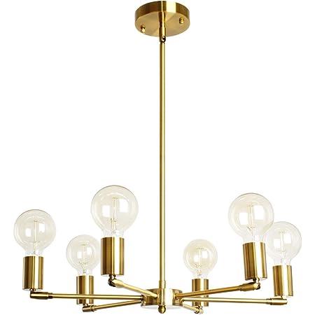 Amazon Com Baoden 6 Lights Fixture Modern Gold Sputnik Chandelier Brushed Brass Mid Century Pendant Light Semi Flush Mount Hanging Lamps For Dining Bedroom Kitchen Lighting Home Improvement