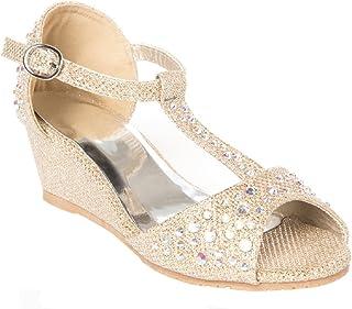 Girls Glitter and Rhinestone Open Toe Wedge Heel...