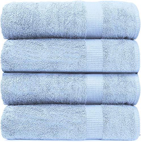4 Piece Bath Sheet Set, 100% Cotton, Premium Super Soft Fluffy Plush, Quick Dry Extra Large Highly Absorbent Bathroom Shower Beach Spa Quality Bath Sheet - Blue (35 inch x 66 inch)