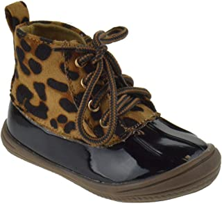 Lucky Top Ducko 1A Little Toddler Girls Two Tone Lace Up Rain Duck Boots
