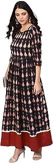 Indian Women's Soft Black Long Ethnic Printed Cotton Maxi Dress Long Kurti DV 504