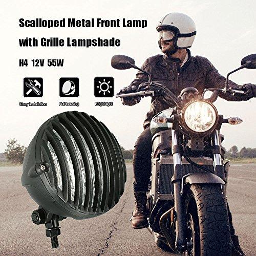KKmoon Fanale con griglia per moto da 12,7 cm, H4, 12 V, 55 W, per Harley chopper bobber