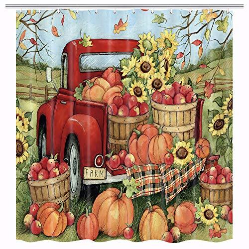 MERCHR Herbst Thanksgiving Duschvorhang, Herbst Sonnenblume Kürbis Ernte Vintage Bauernhof Rot LKW Dekor Badezimmer wasserdichter Stoff Duschvorhang mit 12 Haken Set, 180 x 180 cm
