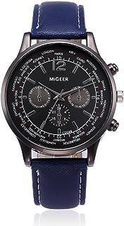 Auwer Luxury Watch, Mens Retro Design Leather Band Analog Alloy Quartz Wrist Watch Clock